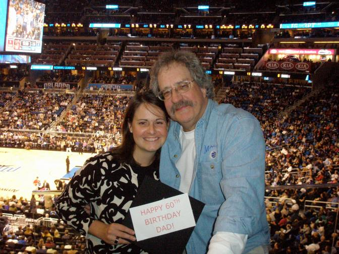Dad and I on his birthday at the Orlando Magic, DeVos graduation ceremony 2010
