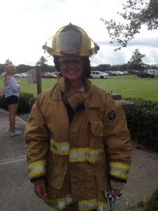 Post race with Stacy's fireman gear. Over 100 firemen and SWAT team members did the race in full gear! That was no light task
