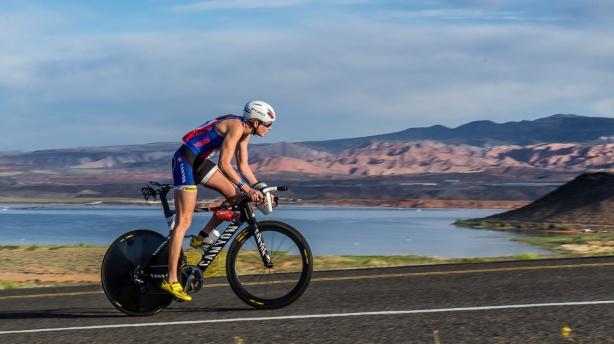 Reigning 70.3 World Champion Leanda Cave climbs the Utah terrain.